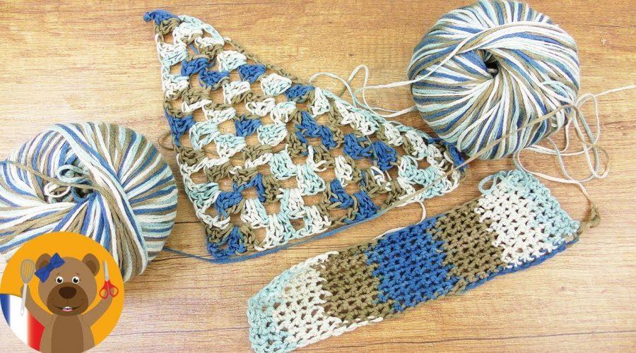 2 idées Color Pooling | Etoffe triangulaire & Bandes avec la laine Woolly Hugs Pool