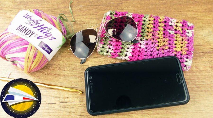 Crocheter une pochette pour Smartphone & Lunettes de soleil   Idée crochet été   Pour débutants