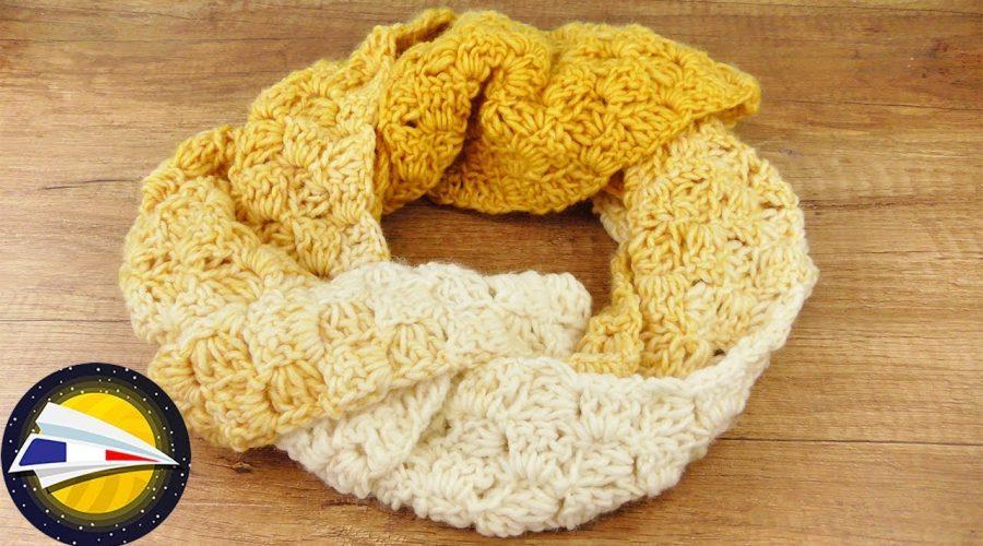 Echarpe avec joli dégradé de couleurs | C2C Echarpe d'automne DIY jaune | Instructions simples