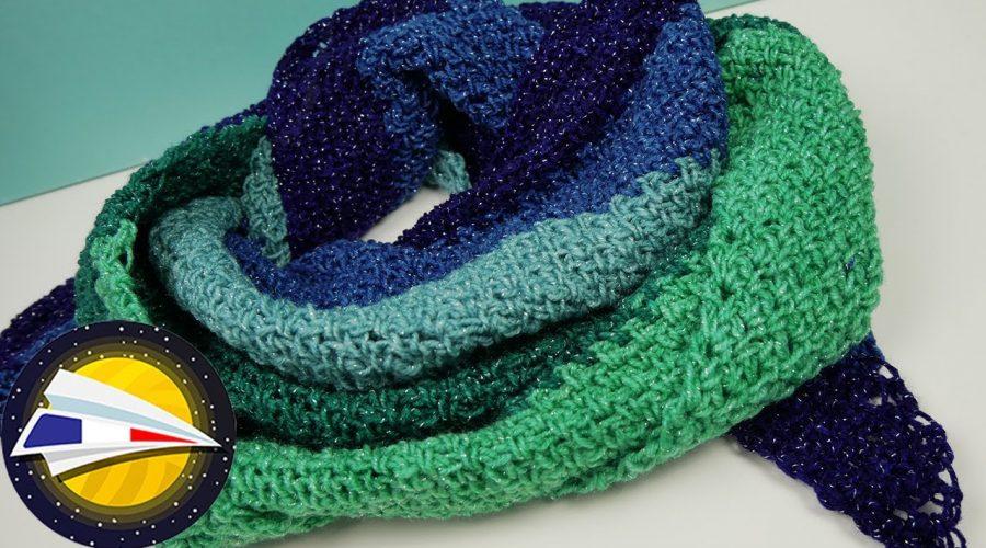 Crocheter une étole brillante   Motif simple et dégradé de couleurs